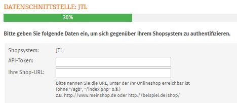 Eingabe API-Token und Shop-URL für JTL