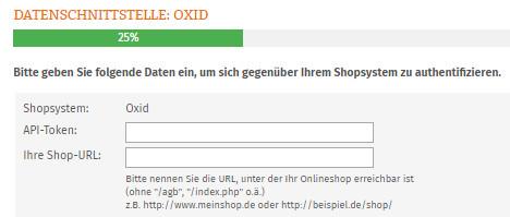 Eingabe API-Token und Shop-URL für Oxid
