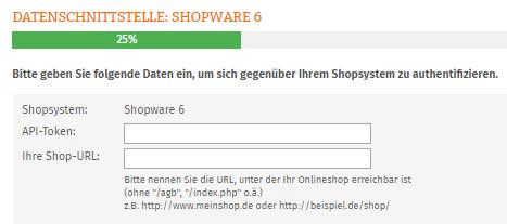 Eingabe API-Token und Shop-URL für Shopware 6 AGB Schnittstelle