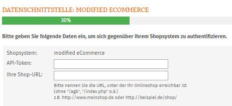 Eingabe API-Token und Shop-URL für modified ecommerce