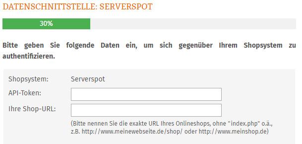 Eingabe API-Token und Shop-URL für serverspot