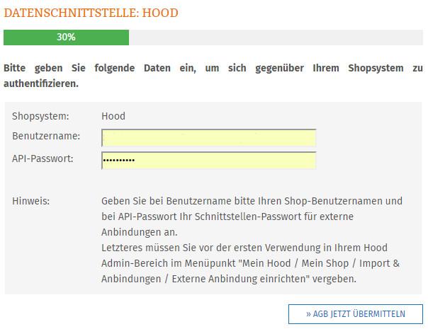 Eingabe Hood Benutzername und API-Passwort