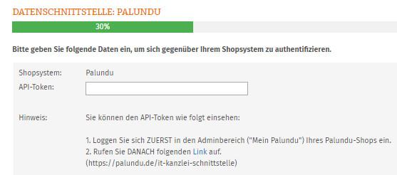 Eingabe Palundu API-Token