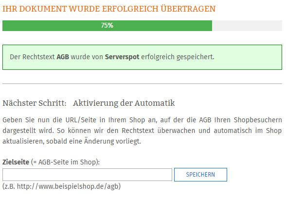 Eingabe Zeilseite AGB für die Übertragunsautomatik