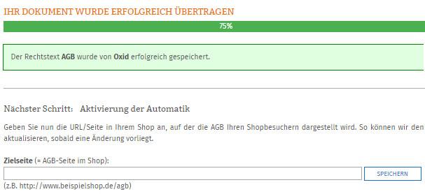 Eingabe Zielseite der AGB im Oxid-Shop