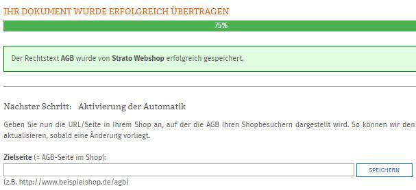 Eingabe Zielseite der AGB im Strato-Shop