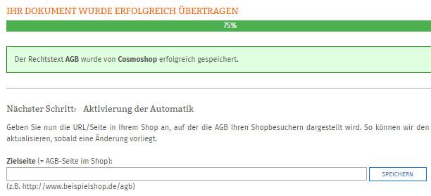 Eingabe der Cosmoshop-Zielseite der AGB für die Aktualisierungs-Automatik