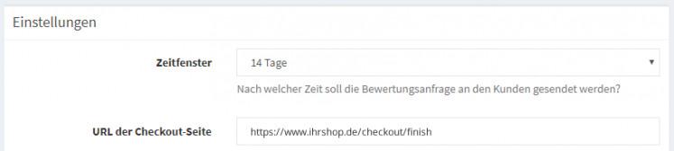 Eingabe der URL der checkout Seite