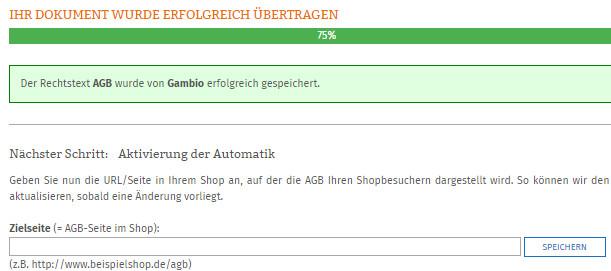 Eingabe der Zielseite der AGB im Gambio-Shop nach Zuweisung im Content-Manager