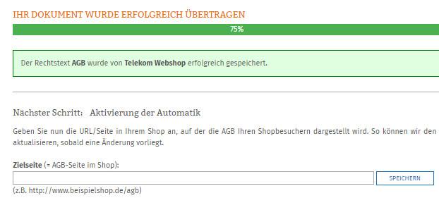 Eingabe der Zielseite für die AGB im Telekom Webshop