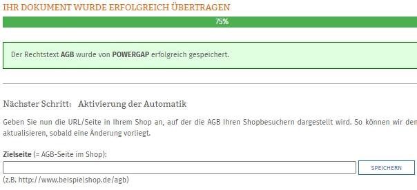 Eingabe der Zielseite nach erfolgreicher Datenübertragung zum Powergap Shop