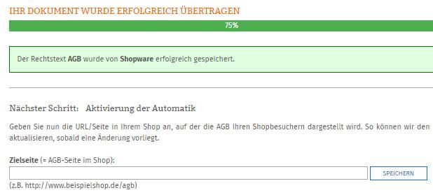 Eingabe der Zielsseite der AGB im Shopware-Shop