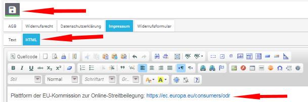 Eingabe des Impressums im HTML-Modus