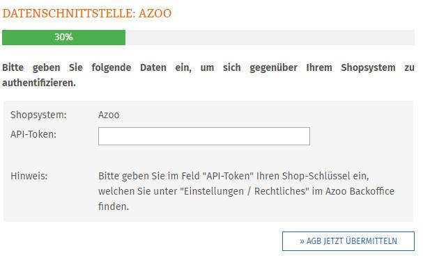 Eingabe des Shop-Schlüssels für die AGB-Schnittstelle zu Azoo