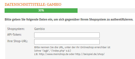 Eingabebereich für API-Token und Shop-URL bei der Datenübertragung zu Gambio
