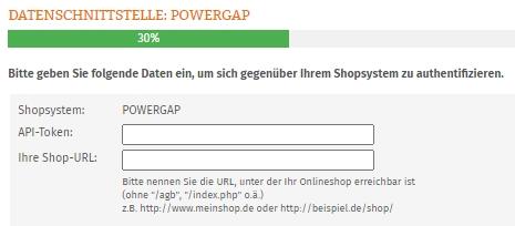Eingabebereich für API-Token und Shop-URL vom Powergap-Shop