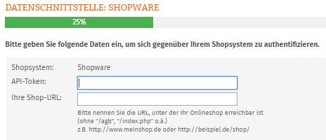 Eingabebereich für API-Token und Shop-URL vom Shopware Shop