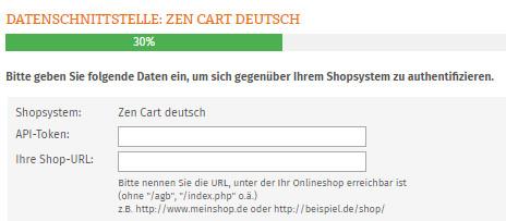 Eingabebereich für API Token und Shop URL von Zen Cart