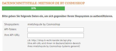 Eingabebereich für API-Token und URL von mietshop.de