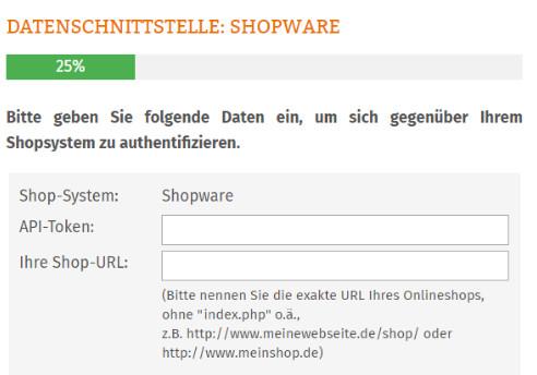 Eingabefelder für Token und Shop-URL