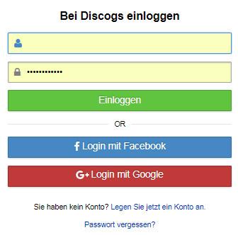 Einloggen im Discogs Account