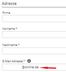 Einpflegen der E-Mail Adresse vor der App-Installation