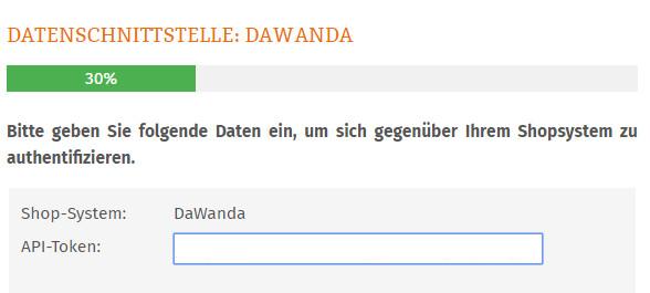 Eintragen des Dawanda API-Token