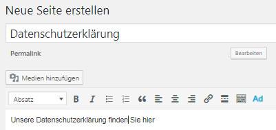 Erstellen einer Seite Datenschutzerklärung in Wordpress