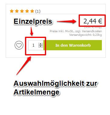 Gesamtpreis Online-Shop 1