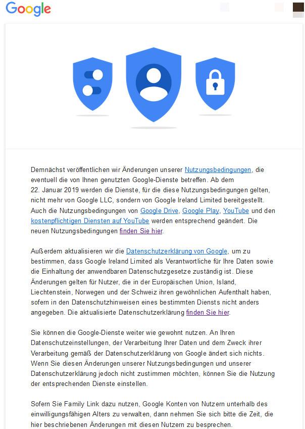 Google-Mitteilung zur Änderung der Nutzungsbedingungen und der Datenschutzerklärung