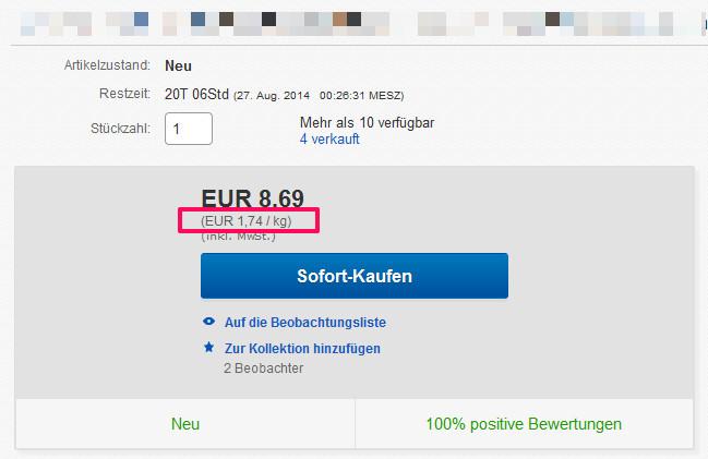 Grundpreis eBay