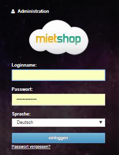 Login als mietshop.de Admin