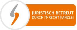 "Logo ""juristisch betreut durch IT-Recht Kanzlei"""