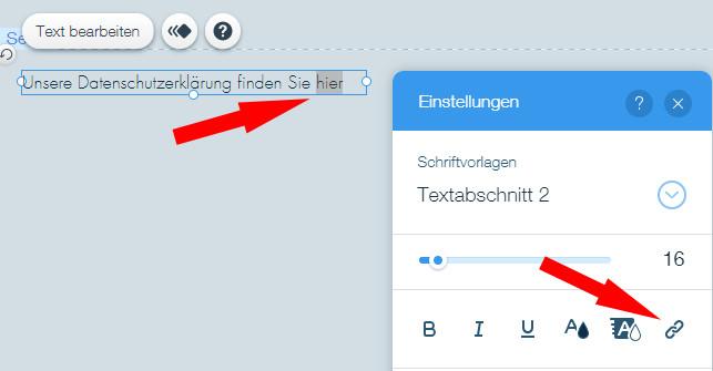 Markieren des Textes und Aktivierung Verlinkung bei Wix