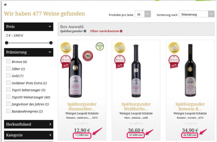 Positivbeispiel Wein Grundpreis
