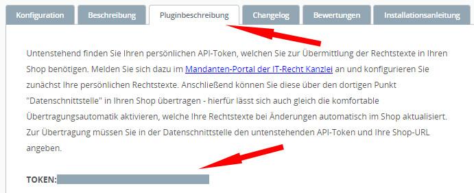 Reiter Pluginbeschreibung mit API-Token bei Shopware