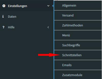 Serverspot - Auswahl Einstellungen - Schnittstellen