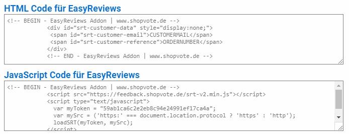 ShopVote Codes für EasyReviews