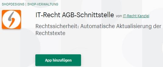 Shopify - AGB-Schnittstelle der IT-Recht Kanzlei