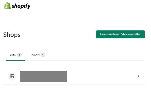 Shopify - Auswahl des relevanten Onlineshops
