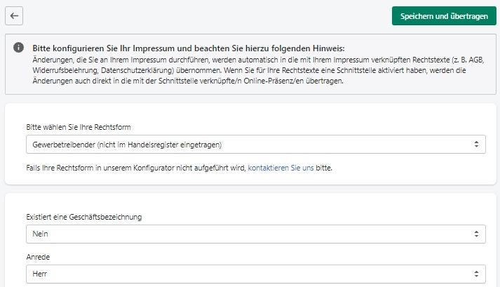 Shopify - Konfigurationsansicht für das Impressum