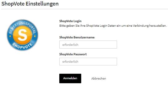 Shopvote Login im Azoo Backend