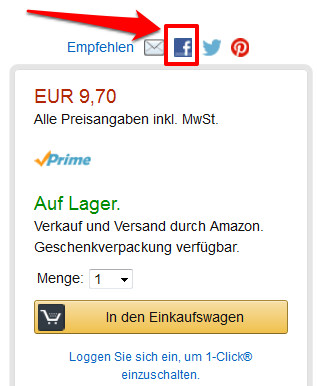 Social Plugin auf Amazon