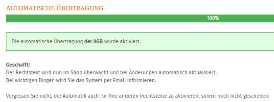 Statusanzeige nach dem erfolgreichen Einrichten der Aktualisierungsautomatik für Plentymarkets