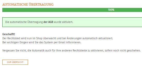 Statusanzeige nach erfolgreicher Einrichtung der AGB-Schnittstelle für Branchbob