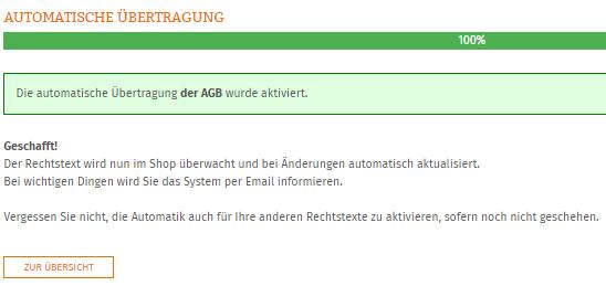 Statusanzeige nach erfolgreicher Einrichtung der Aktualisierungs-Automatik für Afterbuy