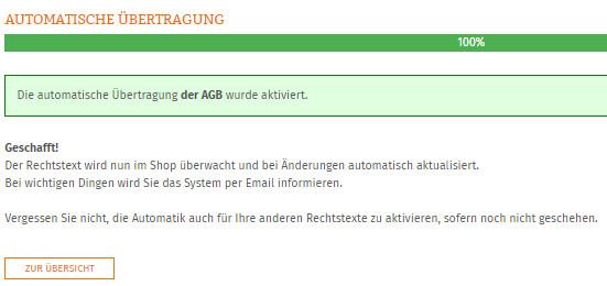 Statusanzeige nach erfolgreicher Einrichtung der Aktualisierungs-Automatik für Shopware-AGB
