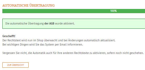 Statusanzeige nach erfolgreicher Einrichtung der Automatik für DR-Webshop