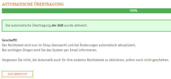 Statusanzeige nach erfolgreicher Einrichtung der Automatik für die AGB