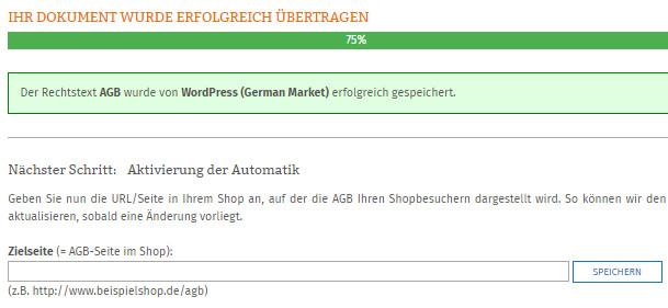 Statusanzeige nach erfolgreicher Übertragung der AGB zu German Market